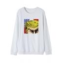 Cool Star Flag President Figure Printed Round Neck Long Sleeve Unisex Cotton Sweatshirt