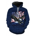 3D Eagle Star Striped Printed Long Sleeve Navy Drawstring Pocket Hoodie