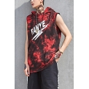 Hip Hop Style FANYE Letter Tie Dye Printed Sleeveless Vest Hoodie for Men