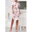 Women's Fashion Floral Print Round Neck Short Sleeve Bow-Tied Waist Midi Dress