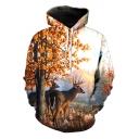 Hot Fashion 3D Tree Deer Print Long Sleeve Hoodie with Pocket