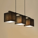 Nordic Style Square Island Light Fabric 3 Lights Black/Flaxen/White Island Pendant for Bedroom