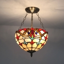 Tiffany Style Victorian Chandelier Bowl Shade Stained Glass Hanging Lamp for Dining Room