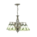 Cone Shade Bedroom Pendant Lamp with Mermaid Decoration Glass 5 Lights Rustic Style Chandelier
