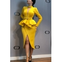 Women's V Neck Long Sleeve Belt Waist Split Front Plain Midi Ruffle Pencil Dress