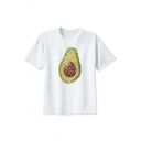 Geo Avocado Pattern White Round Neck Short Sleeve Tee