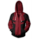 Men's Fashion 3D Printed Cosplay Long Sleeve Drawstring Zip Up Red Hoodie