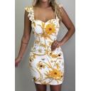 New Stylish Floral Print Ruffle Square Neck Sleeveless Open Back Mini Bodycon Dress