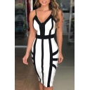 Sexy V Neck Black and White Striped Printed Open Back Split Midi Cami Bodycon Dress