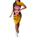 Women's Letter Girl Face Printed Yellow Mini Drawstring Hood Dress