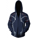 Cosplay Costume Cool 3D Print Long Sleeve Zip Up Casual Navy Hoodie