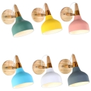 Macaron Colored Torch Wall Lamp 1 Light Modern Metal Rotatable Sconce Light for Hallway Kindergarten