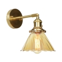 1/2 Pack Vintage Cone Sconce Light Amber Fluted Glass 1 Light Brass Wall Sconce for Hallway Foyer