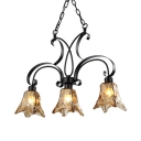 Glass Downing Lighting Linear Chandelier 3 Lights American Rustic Island Fixture in Black for Bar