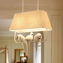 Rustic Style Tapered Shade Hanging Light with Bird Decoration 1/2/3 Lights Fabric Pendant Lamp in Beige
