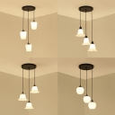 Dining Room Restaurant Pendant Light with Round Canopy Frosted Glass 3 Lights Ceiling Light