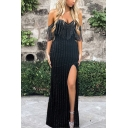 Hot Fashion Off The Shoulder Plain Split Side Tassel Detail Bodycon Maxi Black Dress