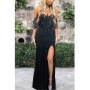 Hot Fashion Off The Shoulder Plain Split Side Tassel Detail Bodycon Maxi Black Dress