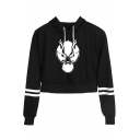 Fashion Wolf Head Printed Striped Long Sleeve Casual Cropped Hoodie