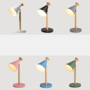 Rotatable Metal Conical LED Study Light 1 Head Contemporary Macaron Colored Desk Lamp for Bedroom