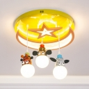 Lovely Animal Flush Light with Star Moon 3/5 Lights Acrylic Ceiling Lamp in Yellow for Kindergarten