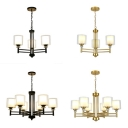 Glass Cylinder Pendant Lamp with Crystal 3/6 Lights Traditional Hanging Light in Black/Gold for Balcony