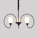 3 Lights Curved Shade Hanging Light Simple Style Frosted Glass Chandelier in White for Foyer
