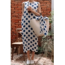 Women's Summer Classic Sexy Round Neck Sleeveless Polka Dots Printed Midi Tank Blue Dress