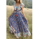 Women's Summer Fashion Scoop Neck Short Sleeve Floral Printed Maxi Boho Beach Dress