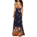 New Style Floral Pattern V-Neck Sleeveless Bow-Tied Waist Maxi Slip Chiffon Dress