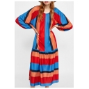 Hot Fashion Round Neck Long Sleeve Stripes Printed Loose Midi Pleated Dress