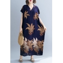 Summer Women's Trendy V-Neck Batwing Short Sleeve Floral Printed Loose Maxi Shift Navy Dress