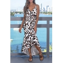 Women's New Style V-Neck Sleeveless Leopard Printed Maxi Dovetail Slip Dress
