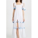 Hot Fashion Square Neck Sleeveless Plain Split Side Embellished Maxi Boho Beach Slip Dress