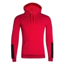 Mens New Fashion Patched Long Sleeve Slim Fit Drawstring Hoodie