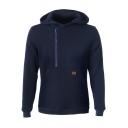 Mens Basic Simple Solid Color Half-Zip Long Sleeve Slim Fitted Blue Hoodie