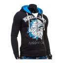 Guys New Fashion Figure Letter NATIVE LIFE Printed Colorblock Long Sleeve Zip Up Drawstring Hoodie