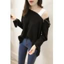 Hot Fashion Cold Shoulder Zip Detail Split Long Sleeve Plain Hoodie