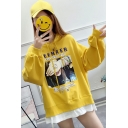 TEENAER Letter Funny Girl Face Printed Long Sleeve Drawstring Hoodie