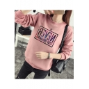 Galaxy Letter Print Round Neck Long Sleeve Sweatshirt