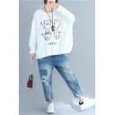 MEOW Letter Cartoon Four Cats Printed Round Neck Long Sleeve Loose Sweatshirt