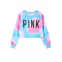 PINK Letter Tie Dye Round Neck Long Sleeve Cropped Pullover Sweatshirt
