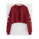 Womens Trendy Solid Color Hollow Out Long Sleeve Casual Loose Cropped Hoodie