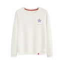Basic Simple Letter Star Printed Round Neck Long Sleeve Pullover Sweatshirt