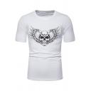 Funny Snake Wing Skull Printed Round Neck Short Sleeve Slim T-Shirt for Men