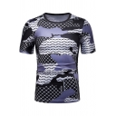 Summer Blue Colorblock Fashion Pattern Round Neck Short Sleeve Slim Tee for Men