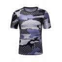 Summer Blue Colorblock Fashion Pattern Round Neck Short Sleeve Slim Tee for Men