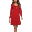 Womens Simple Plain Scoop Neck Long Sleeve Button Front Mini Pleated Casual Dress