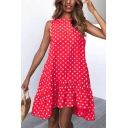 Summer Trendy Polka Dot Printed Round Neck Sleeveless Ruffled Swing Dress