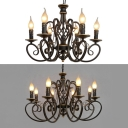 Antique Flameless Candle Chandelier Metal 6/8 Lights Black Suspension Light for Living Room